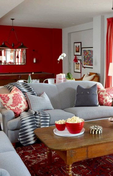 Gorgeous red and white living rooms ideas 26