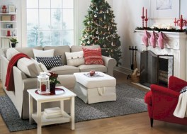 Gorgeous red and white living rooms ideas 27