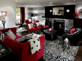 Gorgeous red and white living rooms ideas 28