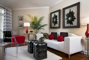 Gorgeous red and white living rooms ideas 29