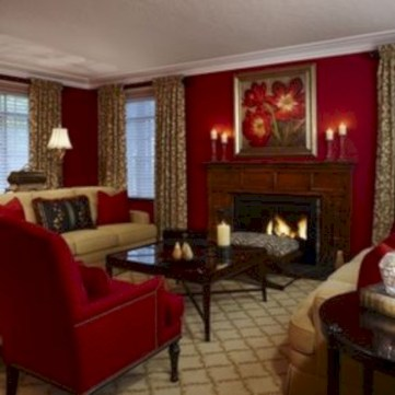 Gorgeous red and white living rooms ideas 45