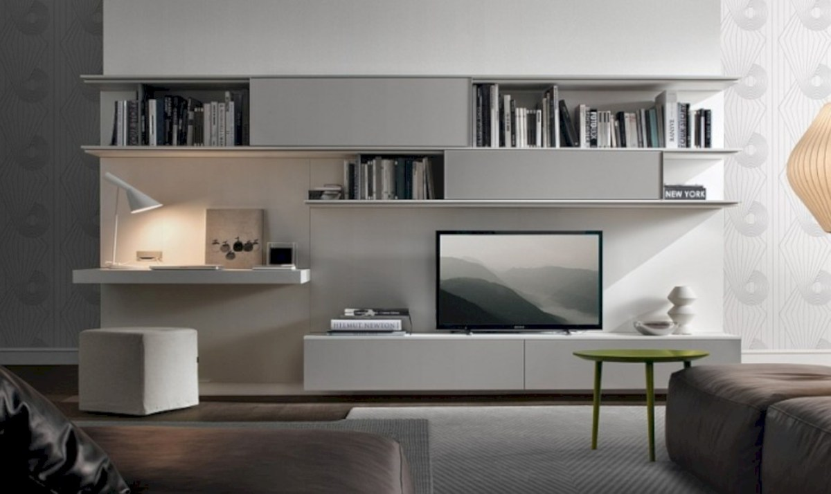 Modern living room wall units ideas with storage inspiration 43