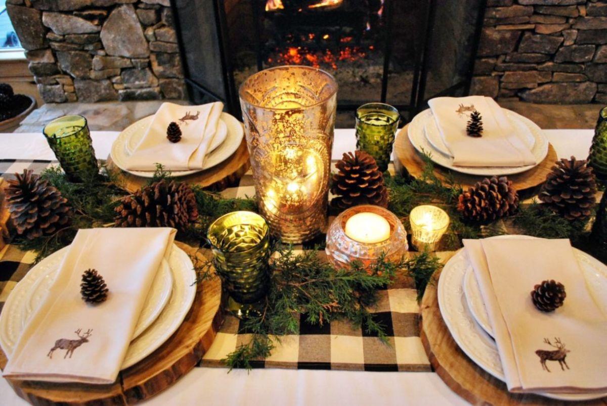 49 Simple Rustic Christmas Table Settings Ideas