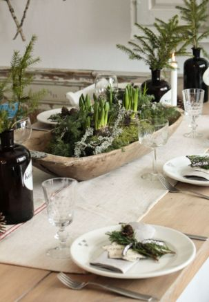 Simple rustic christmas table settings ideas 49