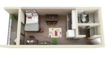 Stylish studio apartment floor plans ideas 11