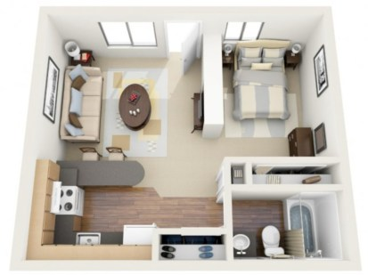 Stylish studio apartment floor plans ideas 18