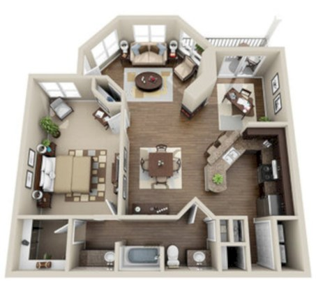 Stylish studio apartment floor plans ideas 19