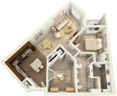 Stylish studio apartment floor plans ideas 21
