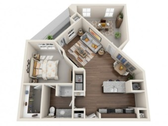 Stylish studio apartment floor plans ideas 23