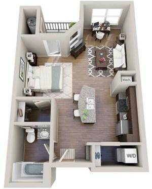 40 stylish studio apartment floor plans ideas round decor for Studio apartment plans 3d