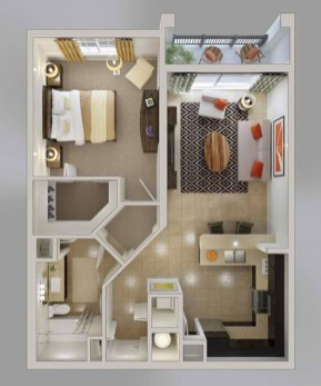 Stylish studio apartment floor plans ideas 37