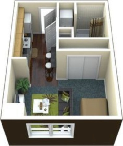 Stylish studio apartment floor plans ideas 38