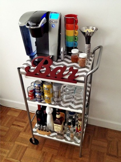 Affordable apartment coffee bar cart inspirations ideas 06