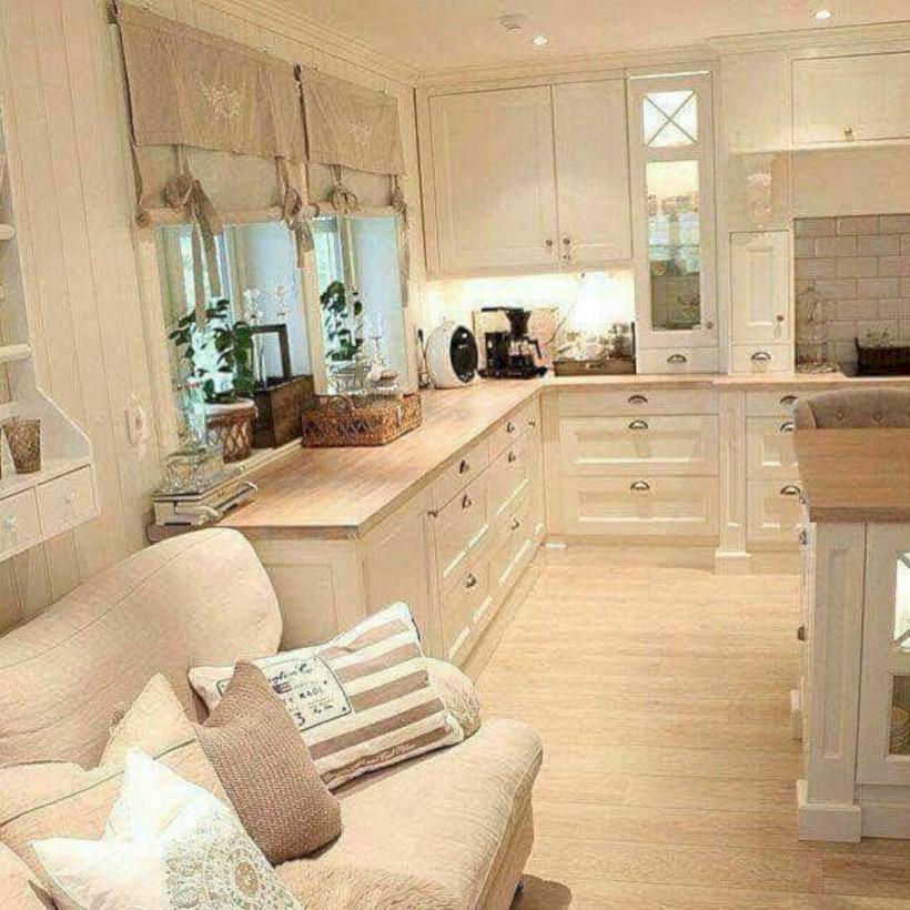 Classic shabby chic vintage kitchens design decor (10)