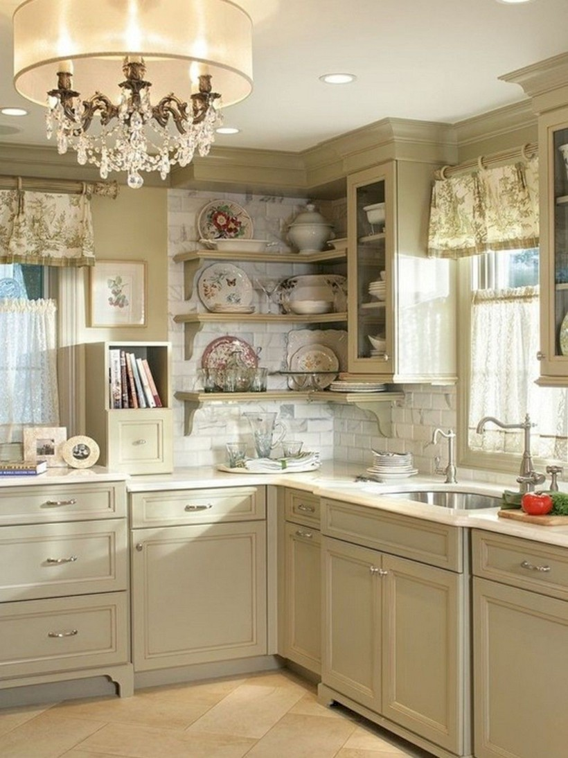 Classic shabby chic vintage kitchens design decor (13)