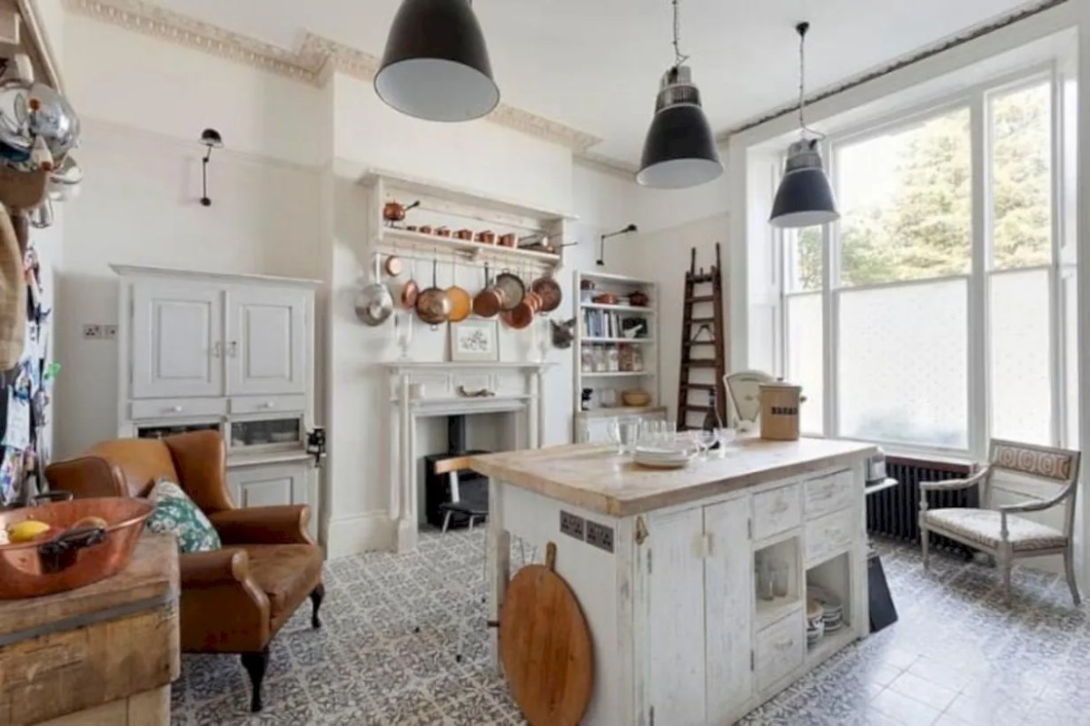Classic shabby chic vintage kitchens design decor (16)