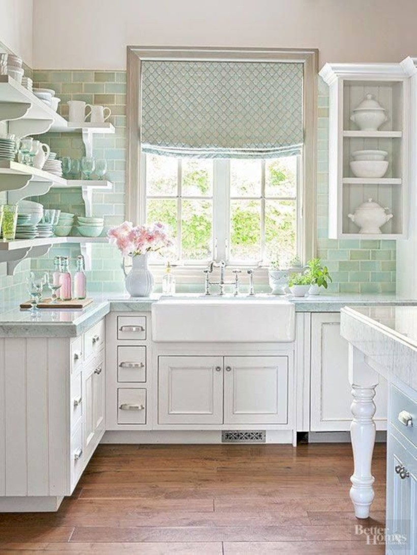 Classic shabby chic vintage kitchens design decor (20)