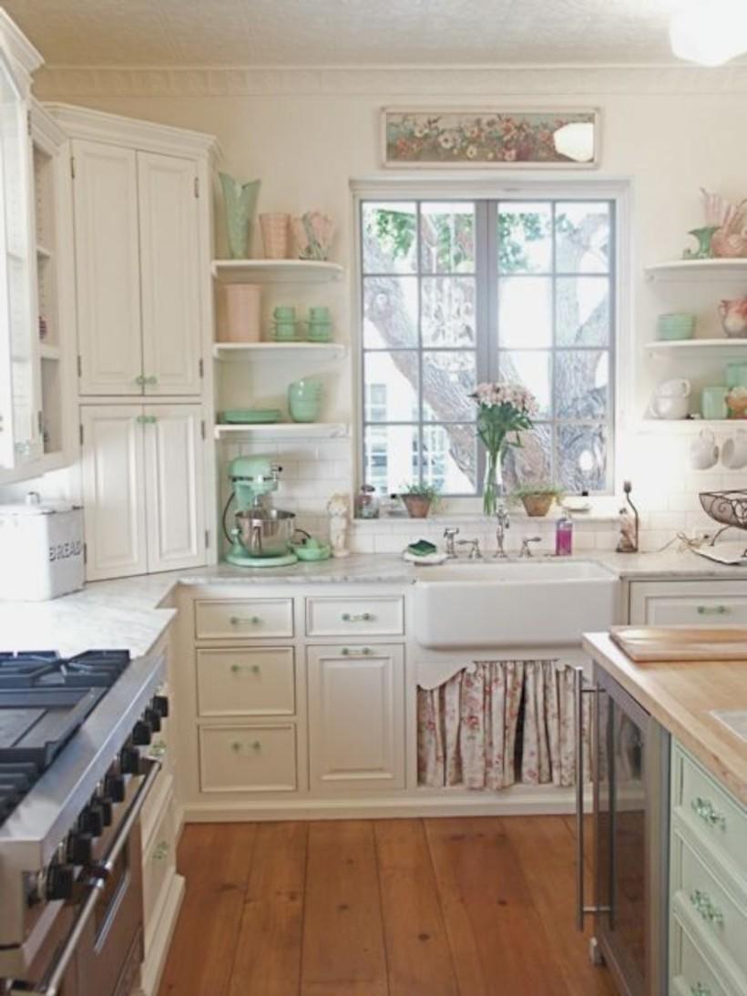 Classic shabby chic vintage kitchens design decor (4)