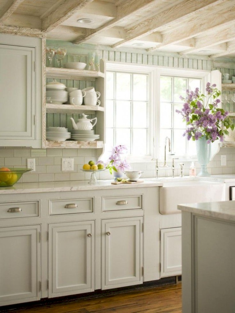 Classic shabby chic vintage kitchens design decor (41)