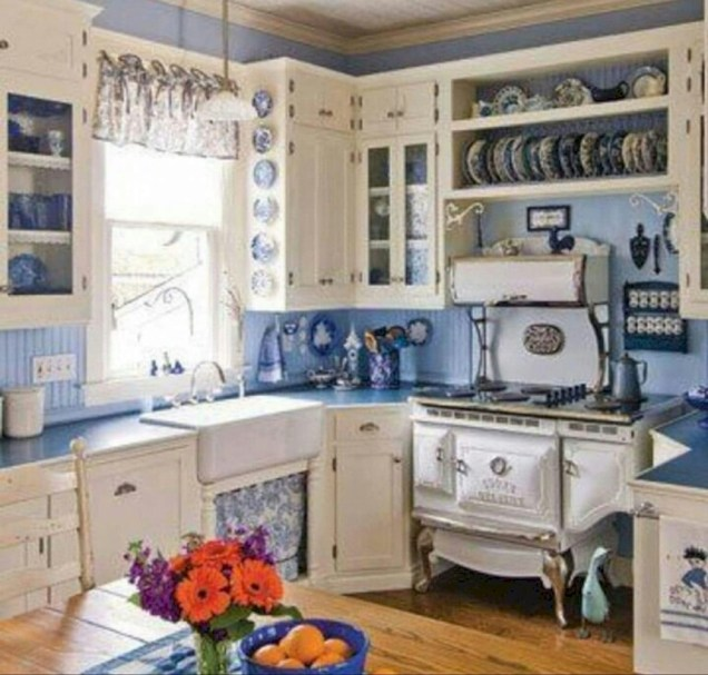 Classic shabby chic vintage kitchens design decor (47)