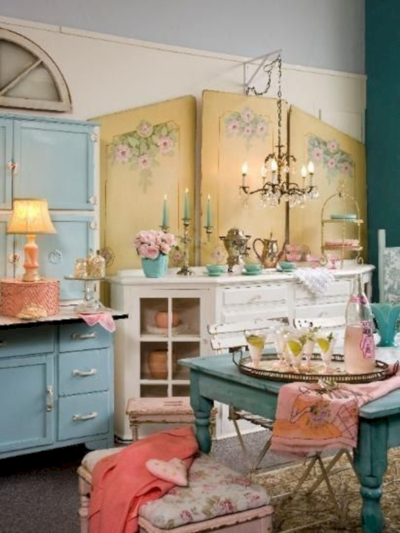 Classic shabby chic vintage kitchens design decor (8)