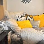 Comfy grey yellow bedrooms decorating ideas (23)