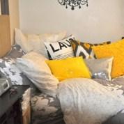 Comfy grey yellow bedrooms decorating ideas (23)
