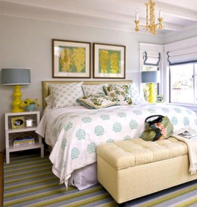 Comfy grey yellow bedrooms decorating ideas (26)
