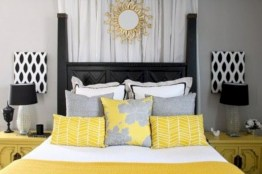 Comfy grey yellow bedrooms decorating ideas (31)