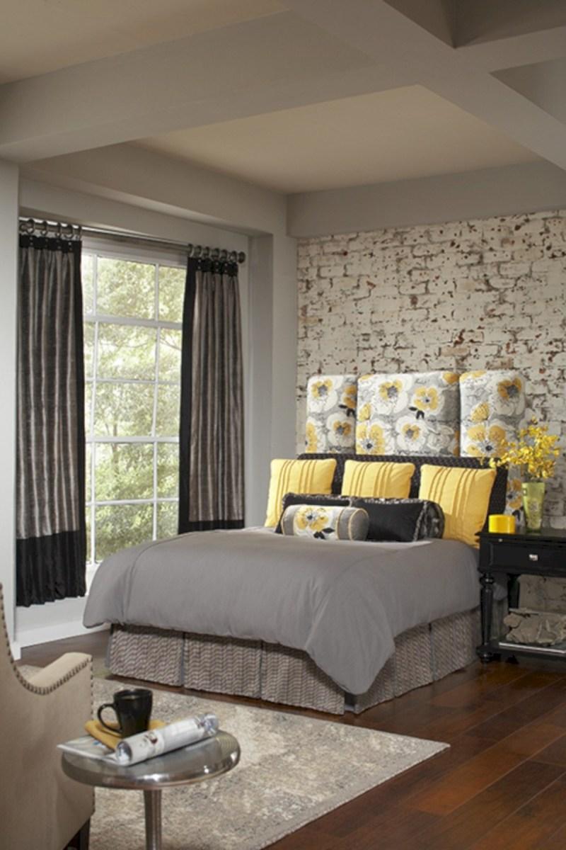 Comfy grey yellow bedrooms decorating ideas (35)