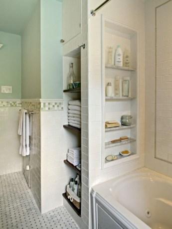 Cool bathroom storage shelves organization ideas 13