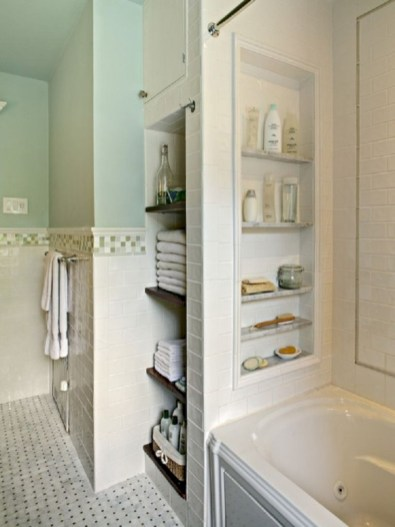 Cool bathroom storage shelves organization ideas 13