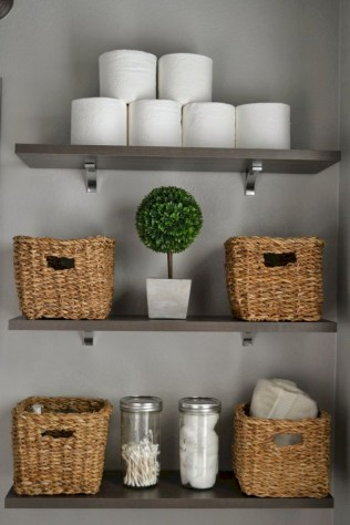 Cool bathroom storage shelves organization ideas 27