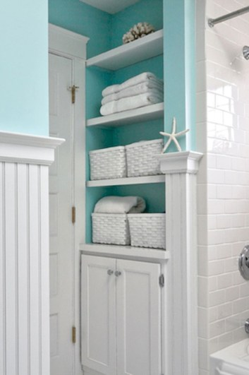 Cool bathroom storage shelves organization ideas 41