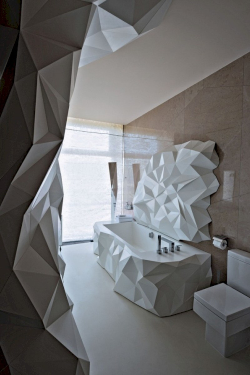 Cool modern geometric concept bathroom designs ideas (19)