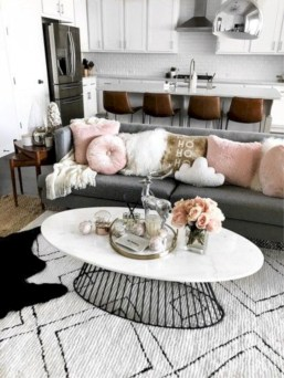 Cozy apartment living room black and white style inspirations ideas 07