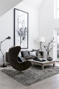 Cozy apartment living room black and white style inspirations ideas 23