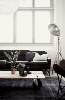 Cozy apartment living room black and white style inspirations ideas 27