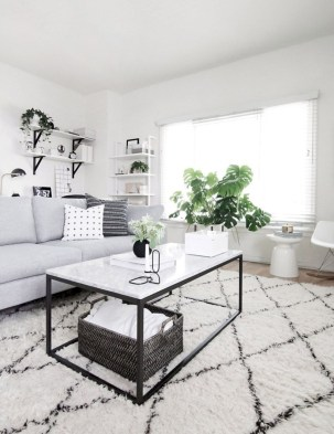 Cozy apartment living room black and white style inspirations ideas 42