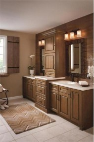 Simple and cozy farmhouse wooden bathroom inspirations ideas 20