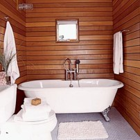 Simple and cozy farmhouse wooden bathroom inspirations ideas 23