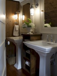 Simple and cozy farmhouse wooden bathroom inspirations ideas 25