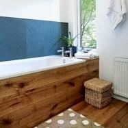 Simple and cozy farmhouse wooden bathroom inspirations ideas 30