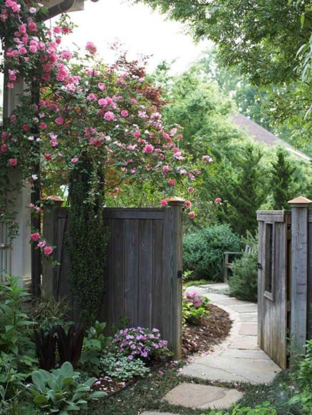 Easy and cheap backyard privacy fence design ideas 45