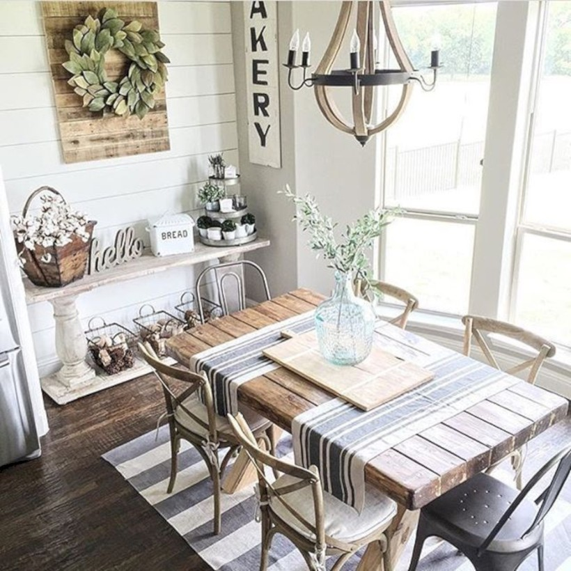 Rustic farmhouse dining room table decor ideas 07