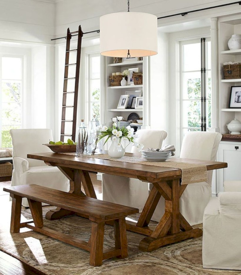 Rustic farmhouse dining room table decor ideas 13