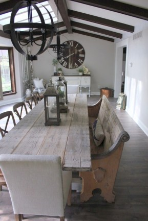 Rustic farmhouse dining room table decor ideas 15