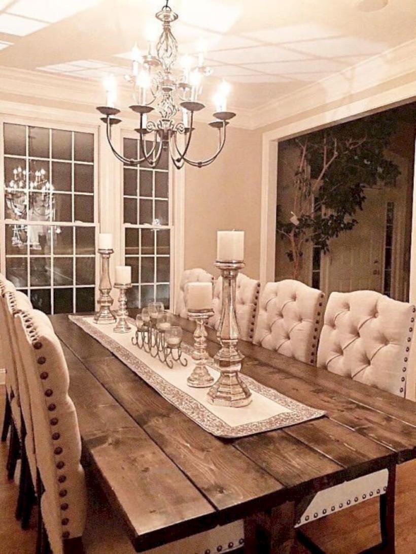 Rustic farmhouse dining room table decor ideas 28