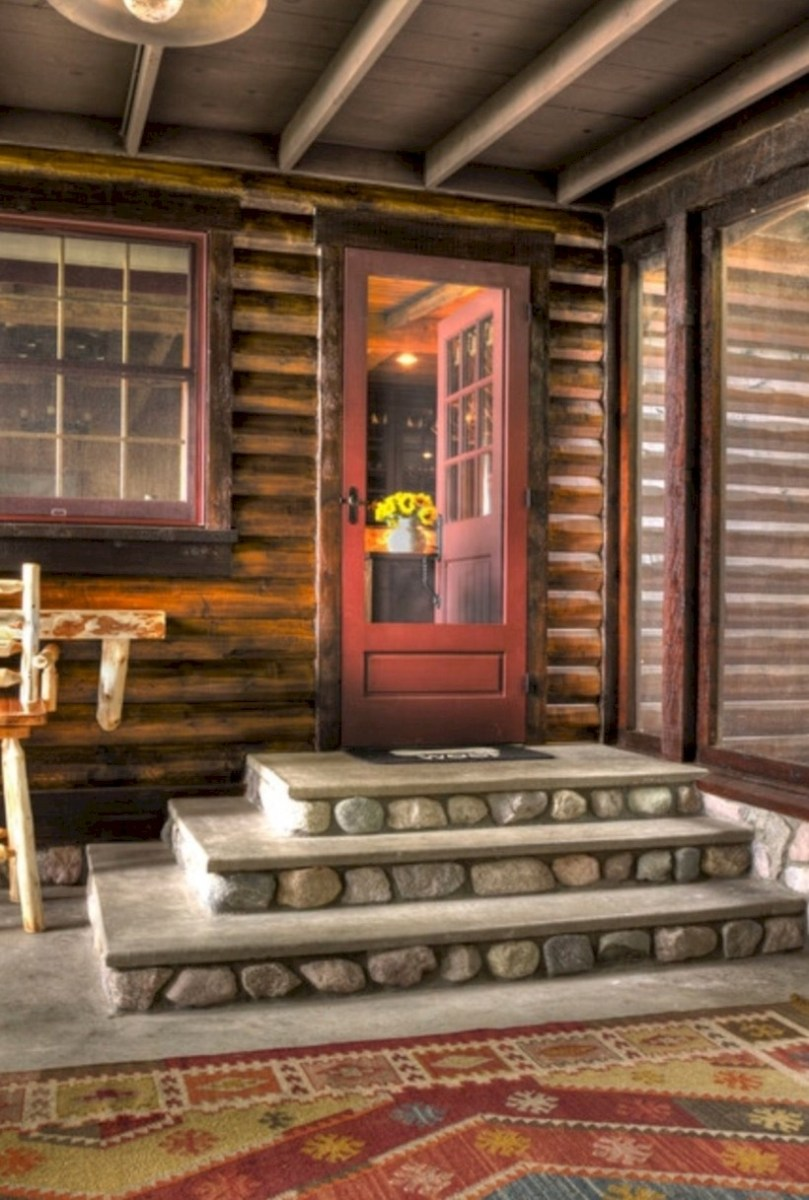Rustic farmhouse porch steps decor ideas 15
