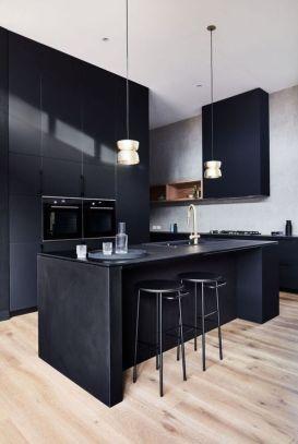 Stylish luxury black kitchen design ideas (47)